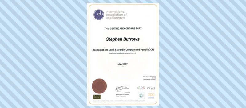 Stephen passed Level 3 Award in Computerised Payroll.